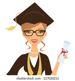 Illustration of a beautiful gradute woman smiling and holding certificate in her hand
