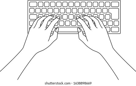 Illustration of a beautiful Japanese woman operating a personal computer keyboard by hand, drawn in vector
