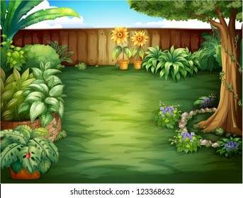 Illustration of a beautiful landscape in a nature