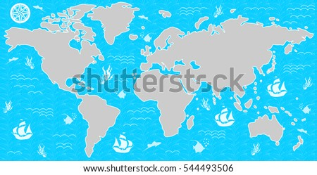 Illustration Beautiful Map All Continents Oceans Stock Vector ...