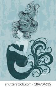 Illustration of beautiful mermaid with long hair