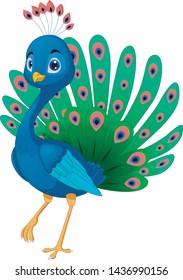 Illustration of beautiful peacock cartoon