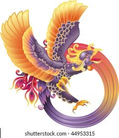 An illustration of a beautiful phoenix in flight, representing rebirth