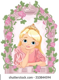 Illustration of beautiful princess looking through a window
