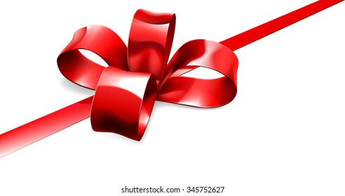 An illustration of a beautiful red ribbon and bow from a Christmas, birthday or other gift