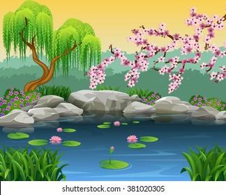 Illustration of beautiful river background