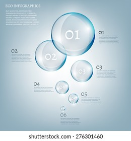 The illustration of beautiful scientific bio infographics with transparent bubbles. Ecology concept. Vector image.