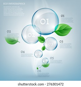 The illustration of beautiful scientific bio infographics with transparent bubbles and fresh leaves. Ecology concept. Vector image.