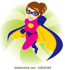 Illustration of beautiful sexy woman in superhero costume