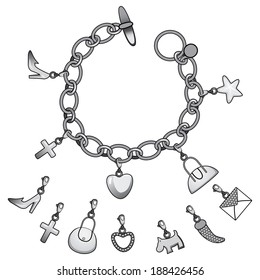 Illustration of beautiful silver bracelet full of cute charms