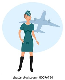 Illustration beautiful stewardess at the airport - vector