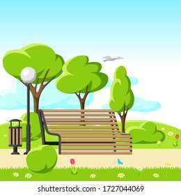 Illustration of beautiful summer or spring city park. Urban public space with lawn and trees for walking and relaxing.
