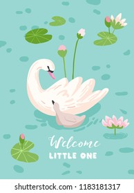 Illustration of Beautiful Swans with Water Lillies for Poster Print, Baby Greetings, Invitation, Children Store Flyer, Brochure, Book Cover in vector