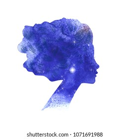 Illustration of  beautiful  watercolor woman silhouette. Perfect for beauty salon sign