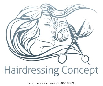 An illustration of a beautiful woman having her hair cut by hairdresser scissors.