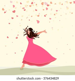 Illustration of a beautiful young girl on hearts decorated background for Happy Women's Day celebration.