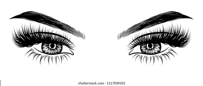 Illustration for beauty salon for eyebrow and eyelash extension vector poster  of beautiful woman. Beauty makeup eyes, fashion female face on poster.Digital vector detailed line art  hand drawn
