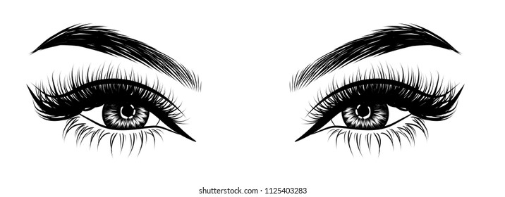 Illustration for beauty salon for eyebrow and eyelash extension vector poster  of beautiful woman. Beauty makeup cut crease eyes, fashion female face on poster.Digital vector detailed line art