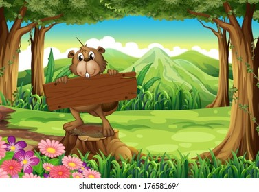 Illustration of a beaver holding an empty signboard at the forest