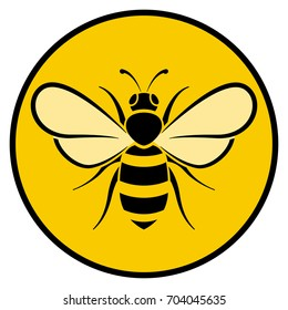 Illustration of bee circle yellow icon