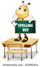 Illustration of a bee holding a spelling bee sign