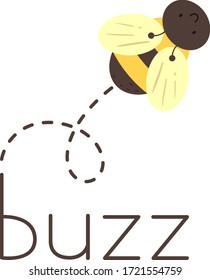 Illustration of a Bee Making a Buzzing Sound