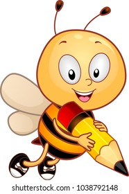 Illustration of a Bee Mascot Holding a Pencil Ready for Spelling Bee Contest