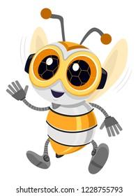 Illustration of a Bee Robot Mascot Waving