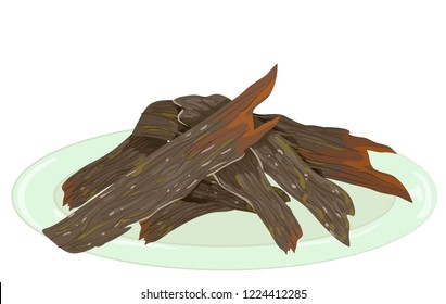 Illustration of Beef Jerky Pieces on Plate