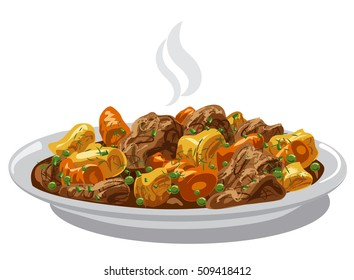 illustration of beef stew meat dish on plate