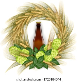 Illustration of beer bottle with hop cones and wheat ear wreath isolated