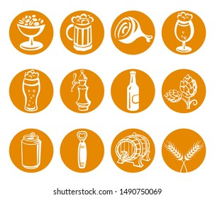 illustration of the beer drinks and snacks icons