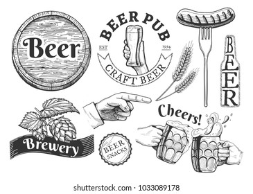 illustration of beer emblems, labels set. Pub, craft, brewery, snacks, cheers inscriptions. Barrel, hand with glass, sausage on fork, wheat, bottle, pointing finger, lid, hop, clinking stein drawings.