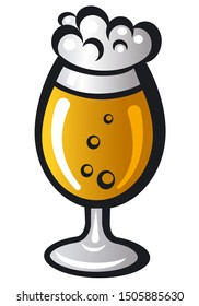 illustration of the beer glass on the white background