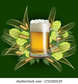 Illustration of beer mug with hop cones and wheat ears