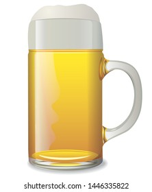 illustration of the beer mug on the white background