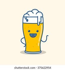 illustration of beer smile doodle waving