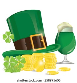illustration. beers with clovers for St Patrick's day. hat with coin on white Background.