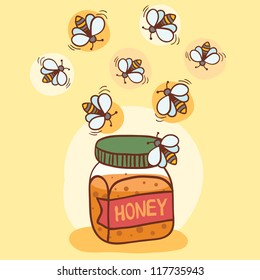 Illustration of bees and honey pot