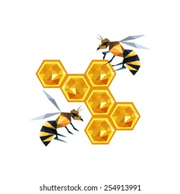 Illustration of bees with wax, isolated on white background