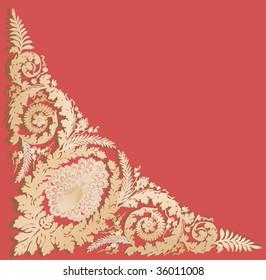 illustration with beige corner decoration on red background