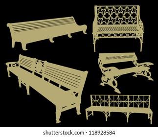 illustration with bench set isolated on black background