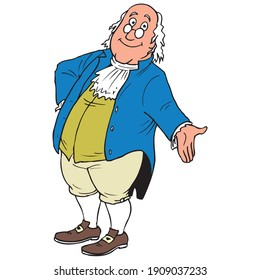 An illustration of Benjamin Franklin. Declaration of Independence and the U.S. Constitution.