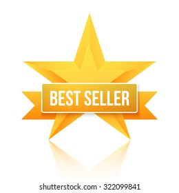Illustration of Best Seller Gold Star Vector Background. Five Stars Top Rating Icon. Photorealistic Gold Stars Template