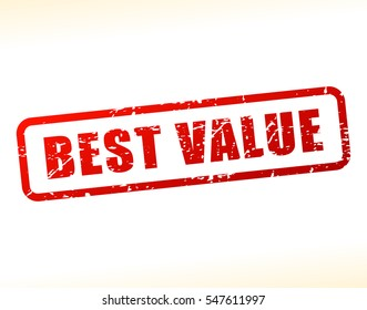 Illustration of best value text buffered on white background