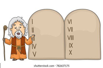 Illustration of a Bible Story About Moses Pointing to the Ten Commandments Tablet