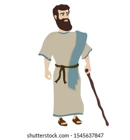 Illustration of a biblical character. Biblical vector illustration. Man shepherd Vector
