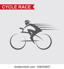 illustration of bicycle and cyclist on race