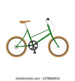Illustration of a bicycle.Stylish green bike.
