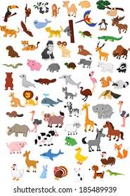 Illustration of big animal cartoon set